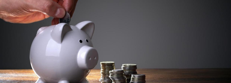 Spaarvarken met daarnaast wat munten